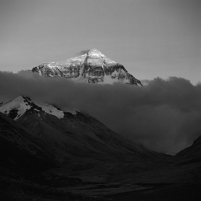 Mount Everest with clouds and sunshine