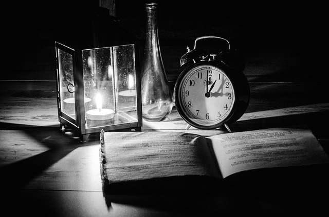 Desk, book, candle, clock, table, study